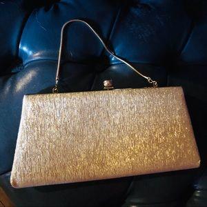Vintage 1960's Gold Sparkle Shimmer Clutch Purse